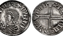 Hiberno-Norse. Sihtric III Olafsson. Circa 995-1036. AR Penny (20mm, 1.47 g, 4h). Phase I coinage, Long Cross type. Difelin (Dublin) mint; Færeman, moneyer. Struck circa 1000-1010. Draped bust left; pellet to right / + FÆ REM N M(dart)Θ DYFLI, voided long cross, with pellet at center and triple-crescent ends; pellet in each central crescent. Cf. O'S 6; SCBI 8 (BM), 21 var. (rev. legend); SCBI 32 (Ulster), 19-20; SCBC 6103. EF, lightly toned, slight bow to flan