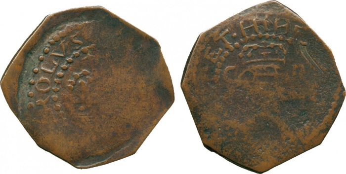 IRELAND, Charles I, Confederate Catholics, Kilkenny Issues (1642-1643), Copper Halfpenny, crown over crossed sceptres, linear circle and legend surrounding both sides, rev crowned harp with C to left, R to right, 5.23g (DF 263; Nelson type I; S 6555). Quite weakly struck as usual, good fine, toned, rare