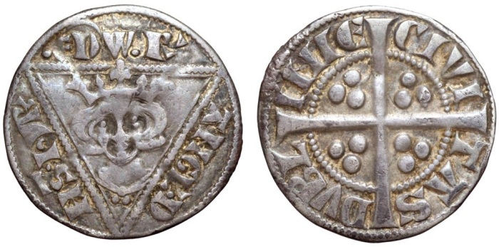 Ireland. Edward I, as king of England and lord of Ireland (1272-1307) AR Penny. Dublin, c.1279-1302. EDW' R' ANGL' D NS hyB', crowned and draped bust facing in triangle; three pellets on breast, pellet before EDW, wedge-tailed R / CIVI TAS DVBL INIE, long cross; three pellets in quarters. SCBI 10, Belfast 470-481; S 6247. 1.35g, 19mm