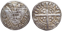 Edward I, as king of England and lord of Ireland (1272-1307) AR Penny. Dublin, c.1279-1302. EDW' R' ANGL' D NS hyB', crowned and draped bust facing in triangle; three pellets on breast, pellet before EDW, wedge-tailed R / CIVI TAS DVBL INIE, long cross; three pellets in quarters. SCBI 10, Belfast 470-481; S 6247. 1.35g, 19mm, 10h.