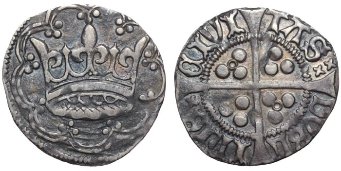 Ireland. Edward IV (1461-1483) AR Groat. Dublin, c.1460-1463. Large crown within tressure of nine arches, each arch ending in triple pellets / CIVI TΛS DVBL InIЄ (double saltire stops) large cross pattée; triple pellets in quarters; central annulet in second and third quarters. S 6272. 2.44g, 23mm, 8h. Very Fine, some clipping. Extremely Rare.