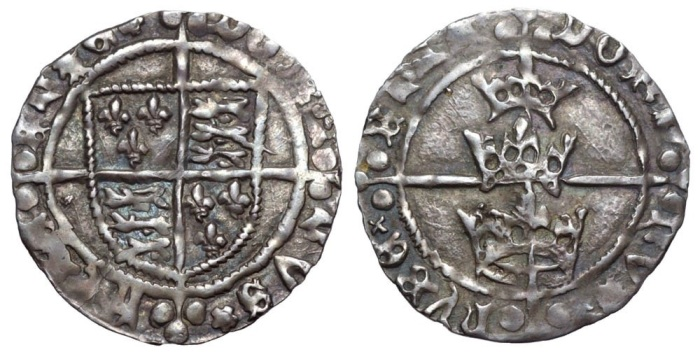 Ireland. Henry VII (1485-1509) AR Groat. Dublin, c.1485-1487. [RЄX] ΛnGL IЄ FRΛ nC[IЄ], coat of arms over long cross with triple pellet ends / [DOmI] nVS hУBЄ RnIЄ, three crowns over long cross with triple pellet ends. S 6415. 1.92g, 22mm, 11h. Good Very Fine. Of exceptional quality and visual appeal.