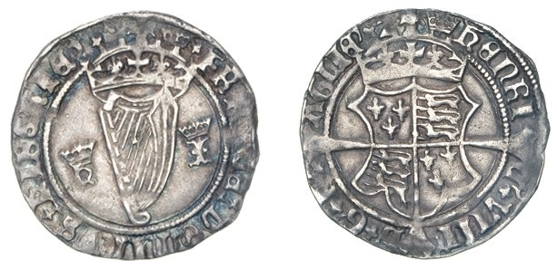 Ireland, Henry VIII, First Harp Issue (1534-40), groat, m.m. crown, crowned h and i (for Henry and Jane Seymour, 1536-37) beside harp, 2.45g (S. 6473), good very fine