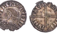 Ireland, Hiberno-Norse, Sihtric, penny, phase II (c.1015-1035), imitating long cross type of Aethelred II, + SIHTRC RE DIFLM, bust l., rev. + FÆ REMI NMO DYHI, long voided cross, pellet in each angle (S.6122; D&F.23), bottom edge very ragged, about very fine, scarce
