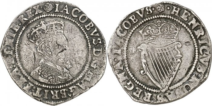 IRELAND. JAMES I, 1603-1626. 2nd Coinage. Shilling, nd (1604-07). Mm rose. Obv: Crowned bust right. Rev: Crowned harp. 4.35 grams. S.6515 / DF 261. Fine to Very Fine.