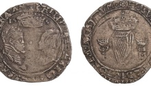 Ireland, Philip and Mary, groat, 155[7], mm. rose, date lacks last digit, facing busts, crown above, date below, rev. crowned harp (S.6501B)
