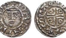 Ireland. John as lord of Ireland (1177-1199), AR Half-penny. Dublin, c. 1190-1198. +IOHANNES DO, facing diademed head / +TOMAS…VVE, voided cross potent. SCBI 10, Belfast, 231-74; S 6205. 0.71g, 14mm, 6h.