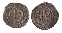 John De Courcy, Lord of Ulster (1177-1205), Farthing, anonymous issue, Downpatrick Mint, Processional cross within beaded circle, +PATRICII legend, rev short cross potent with crescents in angles, within beaded circle, +DE DVNO legend, 0.36g (Withers Downpatrick 1; D.F. 47; S.6225). Toned, a pleasing very fine for issue and extremely rare