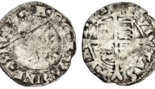 Edward VI (1547-53), coinage in the name of Henry VIII, Threehalfpence, 0.54g, crowned, bearded facing bust, rev. civitas dvblini, shield over long cross fourchée (D.F. -; S.6492), scratch on obverse, full coin, weak portrait, clear legends, fair / about fine, extremely rare
