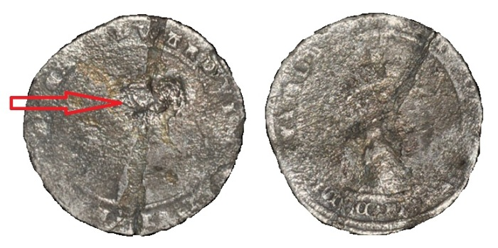 Coin dated MDLI or MDLII (1551 or 1552), third period, countermarked 1560. Obv: profile bust with EDWARD VI D G AGL FRA Z HIB REX legend and uncertain mintmark ('lis' or 'rose' for 1551 English issue, 'harp' for 1552 Irish issue); countermarked with seated greyhound punch. Rev: crowned arms with TIMOR DOMINI FONS VITE M D L I [I?] legend. 3.48 grams. Coin worn, sometime bent and straightened; countermark fair. Very rare.