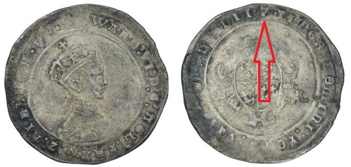Edward VI's Irish Shilling, dated MDLII (1552), third period, mintmark 'harp'. Very rare.