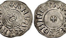 Hiberno-Norse Northumbria). Anlaf Guthfrithsson. 939-941. AR Penny (20mm, 1.14 g, 7h). Eoferwic (York) mint; Athelferd, moneyer. + •ΛNL-•ΛF CVNVHC', raven with wings displayed, head left / + •ΛÐELFERD HINETΓ, small cross pattée. CTCE group IV, a-al; SCBI 4 (Copenhagen) 628-33 var. (legend); BMC 1092-6 var. (legend and stops); North 537; SCBC 1019. EMC 2015.0099 (this coin). Near EF, lightly toned. An excellent example of this iconic type.