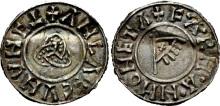 Hiberno-Norse Northumbria). Anlaf Sithtricsson (Cuaran). First reign, 941-944/5. AR Penny (19mm, 0.96 g, 11h). Triquetra type. York mint; Farmann, moneyer. + ΛNLΛF CVNVNC (inverted T), triquetra / + F·A·RH·A·H MONETA, fringed triangular standard bearing 'X' on cross-tipped pole. CTCE Group V, b-q; SCBI 30 (American), 278 var. (obv. legend); SCBI 34 (BM), 1249-52 var. (legends); North 540; SCBC 1020. Near EF, rich old tone, lightly creased with minor edge cracks. Very rare.