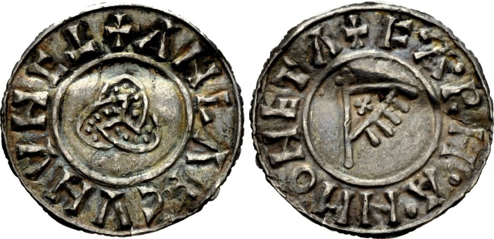 Hiberno-Norse Northumbria). Anlaf Sithtricsson (Cuaran). First reign, 941-944/5. AR Penny (19mm, 0.96 g, 11h). Triquetra type. York mint; Farmann, moneyer. + ΛNLΛF CVNVNC (inverted T), triquetra / + F·A·RH·A·H MONETA, fringed triangular standard bearing 'X' on cross-tipped pole. CTCE Group V, b-q; SCBI 30 (American), 278 var. (obv. legend); SCBI 34 (BM), 1249-52 var. (legends); North 540; SCBC 1020. Near EF, rich old tone, lightly creased with minor edge cracks. Very rare.
