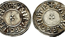 Hiberno-Norse Northumbria). Anlaf Sithtricsson (Cuaran). Second reign, circa 950-952. AR Penny (21mm, 1.31 g, 8h). Circumscription Cross type. York mint; Radulf, moneyer. + ·A·NL·A·F CVNVNCΓ, small cross pattée / + R·A·ÐVCF MONET R·, small cross pattée. CTCE Group VI b, c, and q; SCBI 4 (Copenhagen), 639 var. (legends); BMC –; North 541; SCBC 1029 (this coin illustrated). Near EF, slight deposit in legend on obverse, otherwise with a pleasing silvery/blue tone. Extremely rare