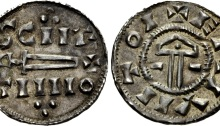 Hiberno-Norse Northumbria). St. Peter coinage. Circa 921-927. AR Penny (19mm, 1.19 g, 3hh). Sword/Hammer type. York mint. Struck under Sihtric II Caech. SCIIE/TIIIIO in two lines, voided sword and cross between, trefoils above and below / + ERIVIITOI, voided hammer, pellet in handle; horizontal lines flanking. Stewart & Lyon dies 26a; SCBI 4 (Copenhagen), 591 (same dies); BMC –; North 556; SCBC 1015 (this coin illustrated). EF, attractive old tone, good metal. Rare.