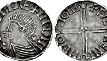 Hiberno-Norse. Sihtric III Olafsson. 995-1036. AR Penny (18mm, 1.16 g, 4h). Phase II coinage, long cross type. Difelin (Dublin) mint signature; 'Faeremin,' moneyer. Struck circa 1018-1035. + HNTRC RE+ ИFDIN, draped bust right; : to left, + behind neck / + FIE RENI ИFIΘ HΘIH, voided long cross, with triple crescent ends; pellet in each quarter. Cf. SCBI 8 (BM), 75 (for type); SCBI 32 (Ulster), 71 (same dies); SCBC 6125. Good VF, toned