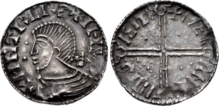 Hiberno-Norse. Sihtric III Olafsson. 995-1036. AR Penny (18.5mm, 0.85 g, 12h). Phase II coinage, Long Cross type. Uncertain mint signature; 'Nerrnii,' moneyer. Struck circa 1018-1035. + HNTRC RE+ II·N[...], draped bust left; two pellets before, cross behind / + NER RNII II MO IEIT, voided long cross, with triple crescent ends; pellet in each angle. O'S –; SCBI 22 (Copenhagen), 82 (same dies); D&F 23; SCBC 6125. Good VF, toned, struck from worn dies.