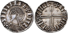IRELAND, Hiberno-Norse. Sihtric III Olafsson. 995-1036. AR Penny (19mm, 1.30 g, 3h). Early Phase II coinage, Long Cross type. Difelin (Dublin) mint signature; Steng, moneyer. Struck circa 1018-1035. + (retrograde Z)IHTR(IC) RE+ DIFL, draped bust right; cross pattée behind neck; pellet in each angle of neck / + (retrograde Z)TE NGM O DУF LNIR, voided long cross, with triple crescent ends; pellet in each angle. Blackburn 4 –; O'S 10; cf. SCBI 8 (BM), 67 (for type); SCBI 32 (Belfast), 46 (same rev. die); D&F 23; cf. SCBC 6122. Near EF, toned. Very rare moneyer.