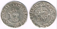 "Ireland. Edward VI sixpence, posthumous Henry VIII issue. Old Head Coinage"" 1547-1550 portrait, type IV. Small bust facing semi right, has been cleaned, nice full flan and good overall definition. Seaby 6488, good very fine."