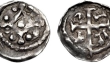 John. As Lord of Ireland, 1172-1199. AR Farthing (10mm, 0.27 g). Second ('DOMinus') coinage, Group II, cross pommée. Waterford mint; Gefrei, moneyer. Struck circa 1198-1199. Mascle with trefoils at quarters / Cross pattée; G Є F R in quarters. Withers VI p. 31; O'S, Earliest 4; SCBI 10 (Ulster), pl. XVI, 11 var. (arrangement of rev. legend); D&F 41; SCBC 6222. Near VF, toned, obverse slightly off center. Very rare