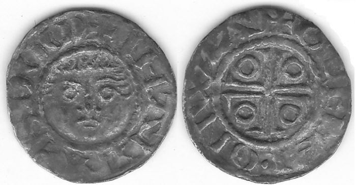 John as Lord, Second DOMinus coinage, Halfpenny, Waterford mint, c.1190 - c.1199, S.6208. 0.77 g., moneyer Gefrei. Obv. legend IOHANNES DOM around diademed facing head. Rev. legend GEFREI . ON WAT around voided cross potent with annulet. Good Very Fine with good centering and all legends well struck. Old tone. Seldom seen moneyer for this scarce issue