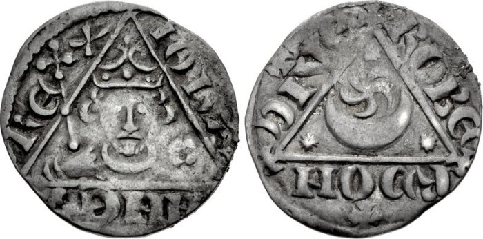 John REX 001 John. As King, 1199-1216. AR Penny Third (Rex Triangle) coinage. Dublin mint, Roberd