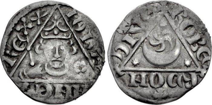 John REX 001 John. As King, 1199-1216. AR Penny Third (Rex Triangle) coinage. Dublin mint, Roberd