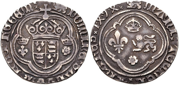 Perkin Warbeck (c. 1474 - executed 1499), medallic coin or jeton, c. 1494, probably Continental manufacture, mm. leopard passant gardant both sides, crowned arms of England between crowned lis and crowned rose, DOMINIE SALVVM FAC REGEM, rev., crown and rose over and below lis and leopard, 23.5mm, 3.90gms [60.186 grains] (MI 21/3; North 1758; S. -; C. Blunt