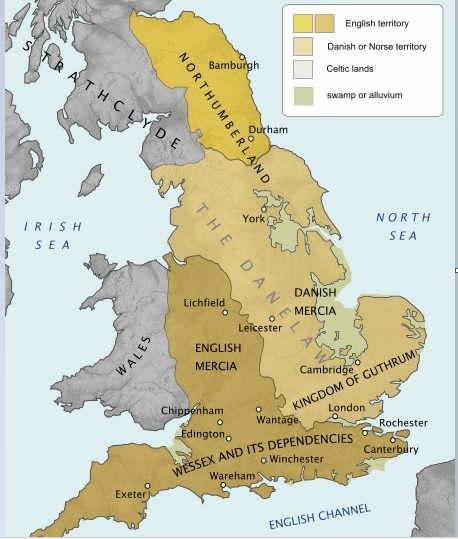The Danelaw roughly comprised 14 modern shires: known today as York, Nottingham, Derby, Lincoln, Essex, Cambridge, Suffolk, Norfolk, Northampton, Huntingdon, Bedford, Hertford, Middlesex and Buckingham
