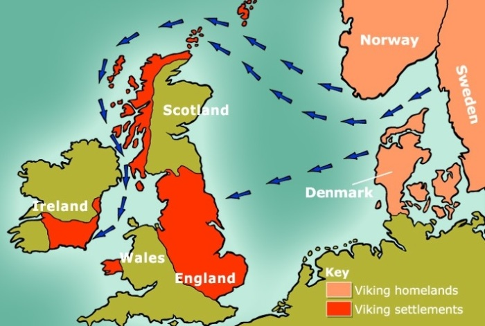 Two main waves of vikings raided and eventually migrated westwards – the Norse settled along the western coast of Scotland and down into Ireland, whereas the Danes mainly settled on the eastern seaboard of Britain. A smaller Swedish group initially settled in the Orkney Islands.