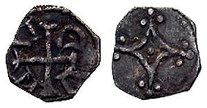 John, as Lord. 1190-1199. AR Farthing (0.35 gm). Second coinage. Dublin mint. Mascle with trefoils at corners / ADAM counter-clockwise around cross. The D not retrograde, as on most other known specimens. Seaby 6220; D&F 41. VF, deeply toned. Particularly fine style obverse. Very rare