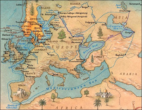 Viking trade routes (blue dotted line) included Baghdad, the Mediterranean, the Balkans, and Russian cities along the Volga River