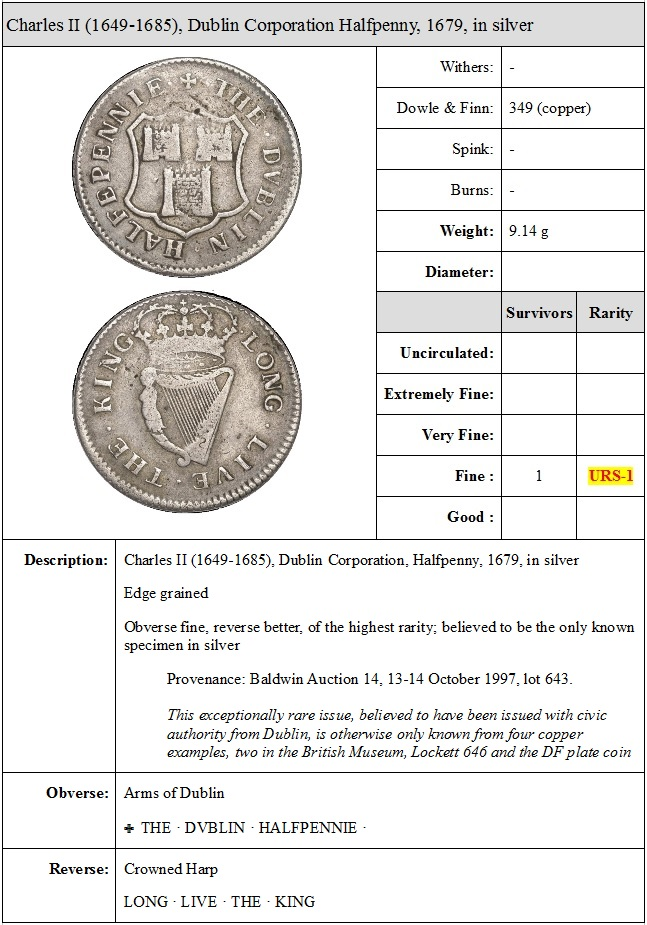 Ireland Charles II (1649-1685), Dublin Corporation, Halfpenny token, 1679, in silver, arms of Dublin, · the · dvblin · halfpennie ·, rev. crowned harp, · long · live · the · king ·, edge grained