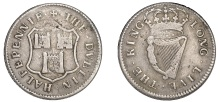 Ireland token, Charles II (1649-1685), Dublin Corporation, Halfpenny, 1679, in silver, arms of Dublin, · the · dvblin · halfpennie ·, rev. crowned harp, · long · live · the · king ·, edge grained