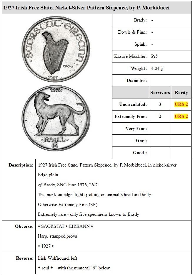 1927 Irish Free State Pattern Sixpence, Morbiducci, in nickel-silver, harp, stamped prova, rev. Irish wolfhound left, edge plain, The Old Currency Exchange, Dublin, Ireland