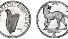 1927 Irish Free State Pattern Sixpence, Morbiducci, in nickel-silver, harp, stamped prova, rev. Irish wolfhound left, edge plain, The Old Currency Exchange, Dublin, Ireland