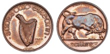 1927 Irish Free State, Pattern Shilling, by P. Morbiducci, in bronze, harp, stamped prova, rev. bull right, edge plain, 4.95g Irish Coin Database. Old Currency Exchange, Dublin