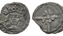 Edward IV - Drogheda - Large Rose Penny 1478-1483 AD. Group VII coinage. (obv) EDWARD DI GR DNS HYBE (rev) VILL ADR (OGH EDA) 4 known