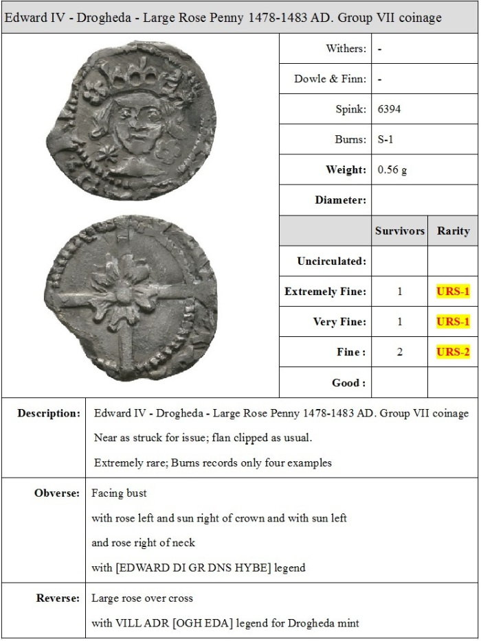 Ireland - Edward IV - Drogheda - Large Rose Penny 1478-1483 AD. Group VII coinage. Obv: facing bust with rose left and sun right of crown and with sun left and rose right of neck with [EDWARD DI GR DNS HYBE] legend. Rev: large rose over cross with VILL ADR [OGH EDA] legend for Drogheda mint