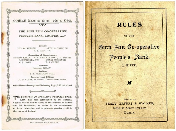 1908 Sinn Fein Co-operative People's Bank prospectus + rules