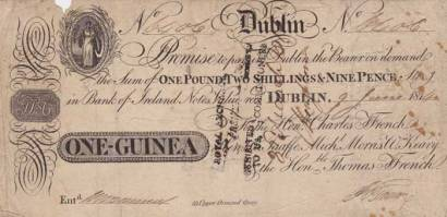 1814 (9 June) One Guinea promissory bank note by Ffrench, Taaffe, Morris & Keeny