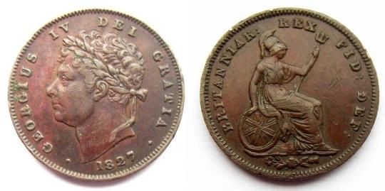 1827 GB & Ireland - Copper Third-Farthing (George IV)