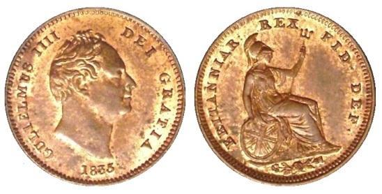 1835 GB & Ireland - Copper Third-Farthing (William IV)