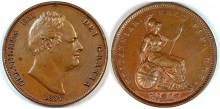 1837 GB & Ireland Copper Penny (William IV)