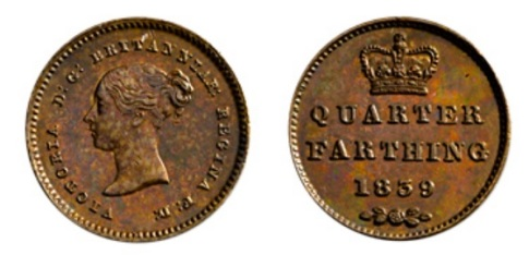 GB 1839 quarter farthing
