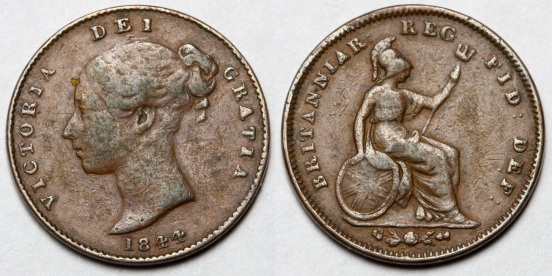1844 GB & Ireland - Third-Farthing (Victoria)