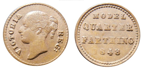 Pattern coinage by Moore - Model quarter farthing 1848