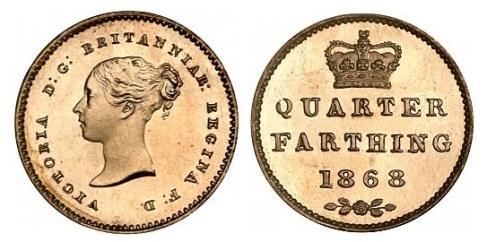 1868 Bronze Proof Quarter-Farthing (Victoria, 2nd portrait)