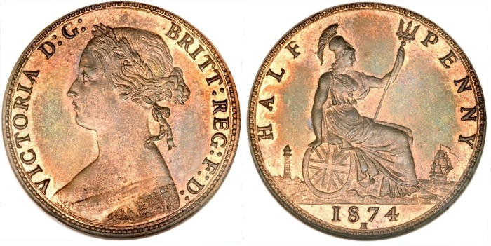 1874 GB Penny (Heaton Mint)